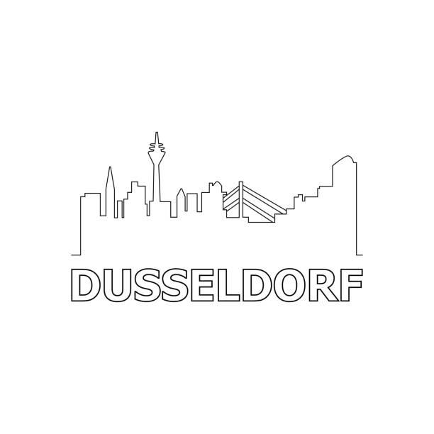 düsseldorf skyline und wahrzeichen silhouette schwarz vektor icon. düsseldorf panorama. deutschland - düsseldorf stock-grafiken, -clipart, -cartoons und -symbole