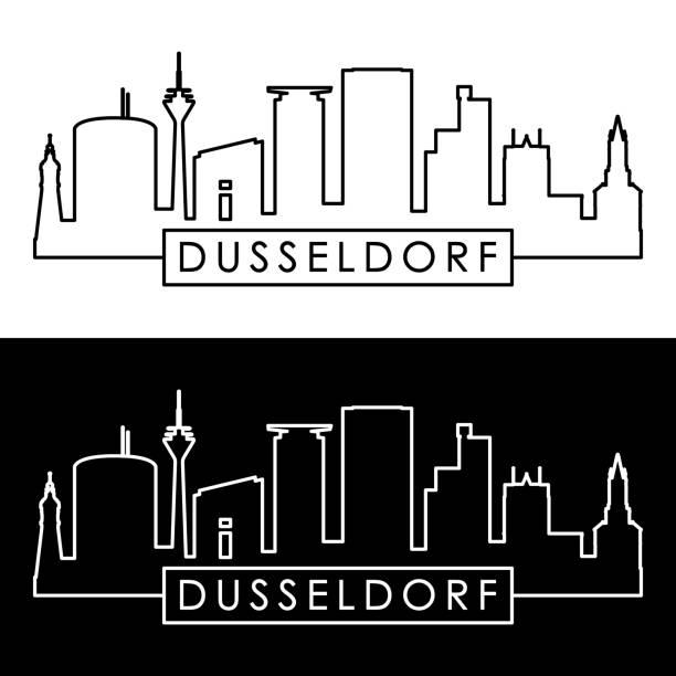 skyline von düsseldorf. linearen stil. bearbeitbare vektordatei. - düsseldorf stock-grafiken, -clipart, -cartoons und -symbole