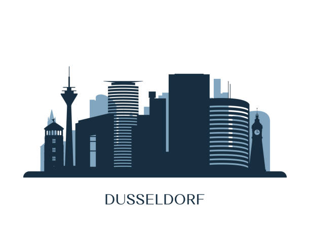 düsseldorf skyline, monochrome silhouette. vektor-illustration. - düsseldorf stock-grafiken, -clipart, -cartoons und -symbole