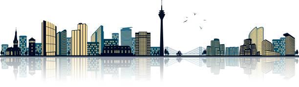 dusseldorf skyline (germany) - düsseldorf stock-grafiken, -clipart, -cartoons und -symbole