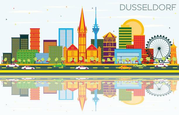 düsseldorf skyline mit farbe gebäuden, blauer himmel und reflexionen. - düsseldorf stock-grafiken, -clipart, -cartoons und -symbole