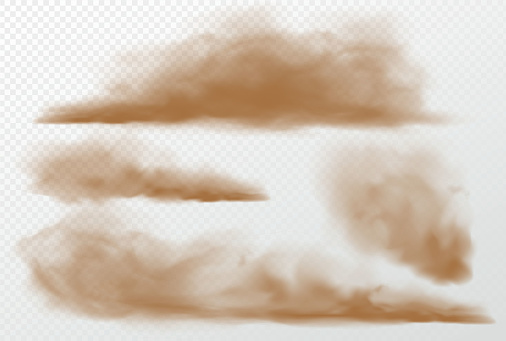 Dust and sand clouds on transparent background. Vector illustration EPS10