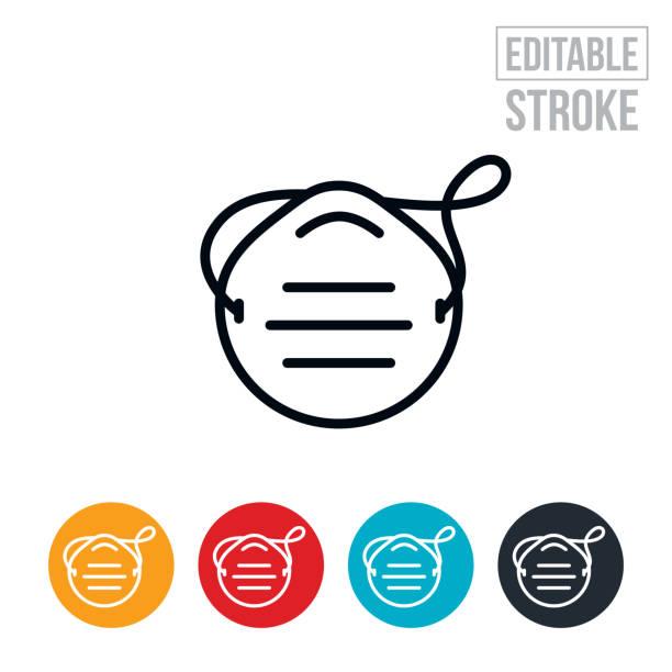 ilustraciones, imágenes clip art, dibujos animados e iconos de stock de icono de línea delgada de máscara de polvo - trazo editable - equipo de seguridad