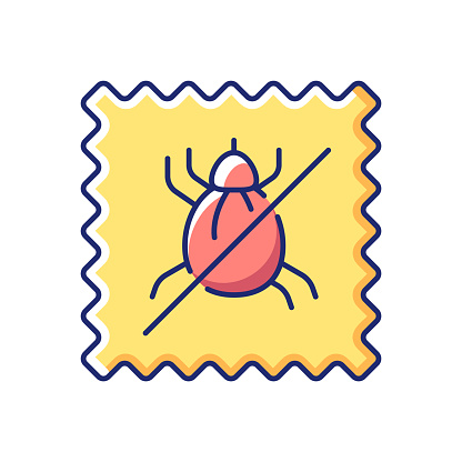 Dust mite proof textile quality vector flat color icon