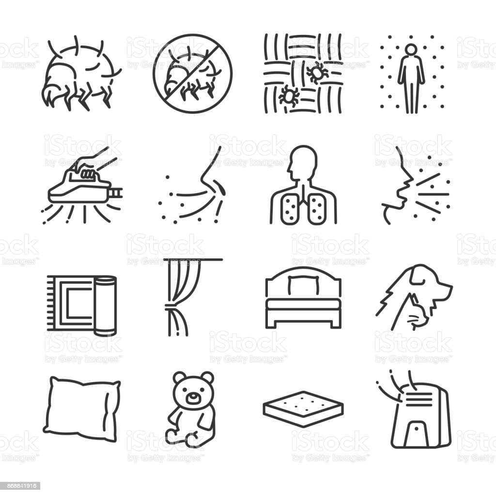 Dust mites line icon set. Included the icons as dust mites, flea, bed bugs, bedroom, bed, bugs killer and more. vector art illustration