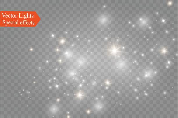 Dust on a transparent background.bright stars.The glow lighting effect Dust on a transparent background.bright stars.The glow lighting effect. vector illustration.the sun is shining. magic dreamlike stock illustrations