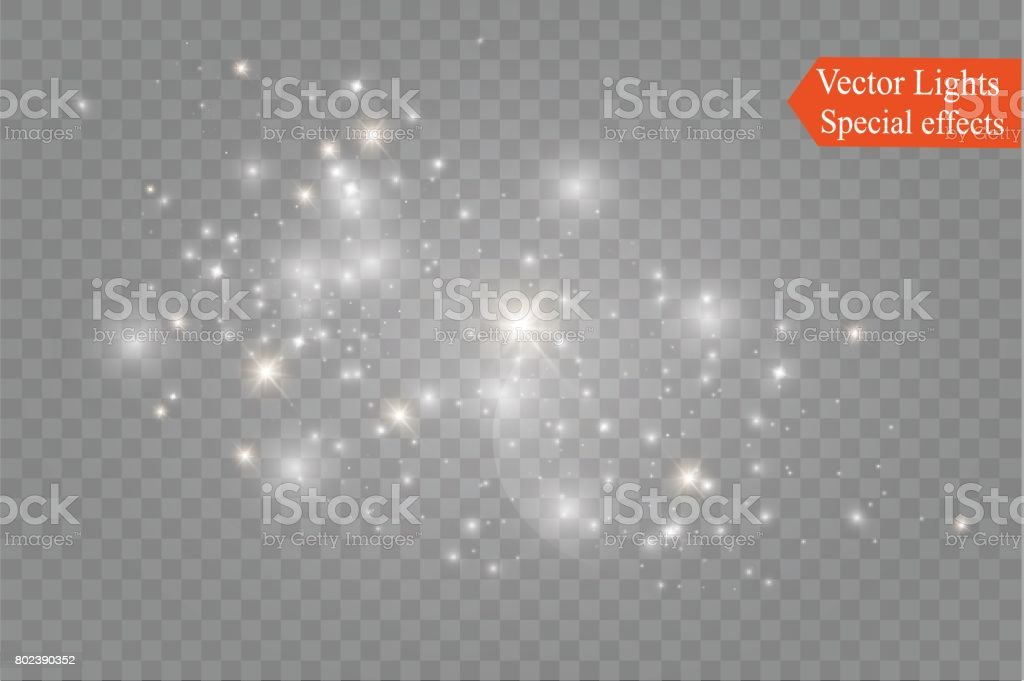 Dust on a transparent background.bright stars.The glow lighting effect vector art illustration