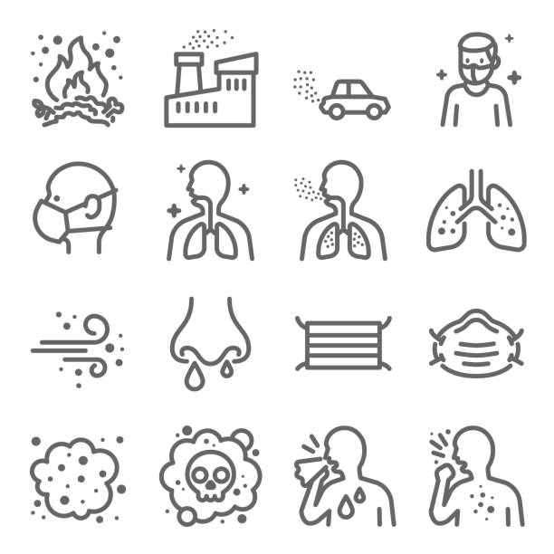 Dust Pollution Vector Line Icon Set. Contains such Icons as Lung, Factory, Dust Mask, Dirt Air and more. Expanded Stroke Dust Pollution Vector Line Icon Set. Contains such Icons as Lung, Factory, Dust Mask, Dirt Air and more. Expanded Stroke infectious disease stock illustrations