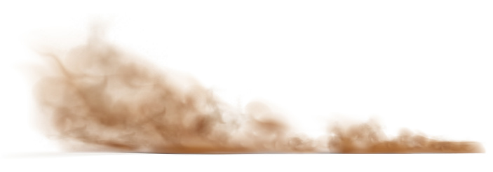 Dust sand cloud on a dusty road from a car.