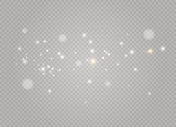Dust white light Dust white. White sparks and golden stars shine with special light. Vector sparkles on a transparent background. Christmas abstract pattern. Sparkling magical dust particles. light natural phenomenon stock illustrations