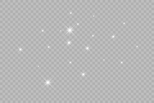 Dust white. White sparks and golden stars shine with special light. Vector sparkles on a transparent background