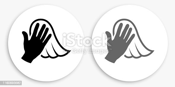Dusting Black and White Round Icon. This 100% royalty free vector illustration is featuring a round button with a drop shadow and the main icon is depicted in black and in grey for a roll-over effect.