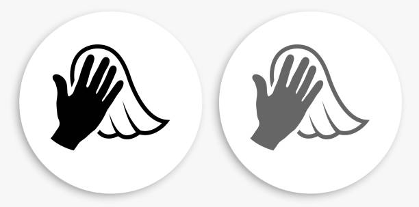 Dusting Black and White Round Icon vector art illustration