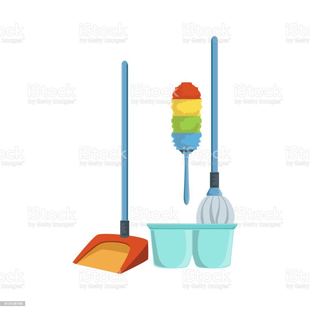 Dusting Household Equipment Set vector art illustration