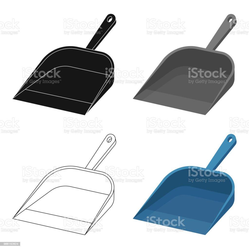 Kehrschaufel-Symbol im Cartoon-Stil, die isoliert auf weißem Hintergrund. Reinigung Symbol Lager Web Vektorgrafik. - Lizenzfrei Ausrüstung und Geräte Vektorgrafik