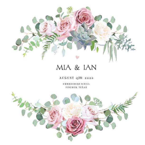 灰塵和淺粉色,奶油古董玫瑰,淡花向量設計婚禮花束 - 淺粉色 幅插畫檔、美工圖案、卡通及圖標