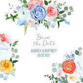 Dusty blue, orange, yellow, coral flowers vector design frame. Rose, carnation, ranunculus, hydrangea, brunia. Eucalyptus, greenery. Bohemian chic style border. All elements are isolated and editable