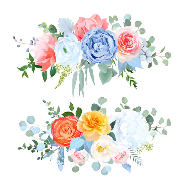 bildbanksillustrationer, clip art samt tecknat material och ikoner med dammiga blå, orange, gul, korall blommor vektor bröllopsbuketter - flower bouquet blue and white