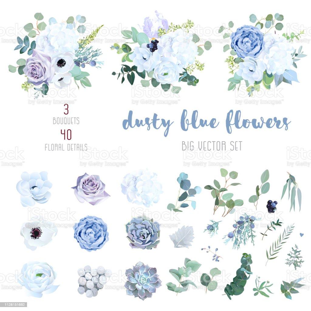 Dusty blue, pale purple rose, white hydrangea, ranunculus royalty-free dusty blue pale purple rose white hydrangea ranunculus stock illustration - download image now