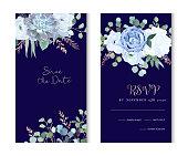 Dusty blue rose, echeveria succulent, hydrangea, ranunculus, anemone, eucalyptus, juniper, brunia vector design navy frames. Wedding flower card.Floral border, rose pink branch. Isolated and editable