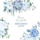 Dusty blue rose, echeveria succulent, white hydrangea, ranunculus, anemone, eucalyptus, juniper, brunia vector design frame.Wedding seasonal flower card.Floral border composition.Isolated and editable