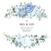 Dusty blue rose, echeveria succulent, white hydrangea, ranunculus, anemone, eucalyptus, juniper vector design wedding bouquets.Seasonal flower card.Floral square composition.Isolated and editable