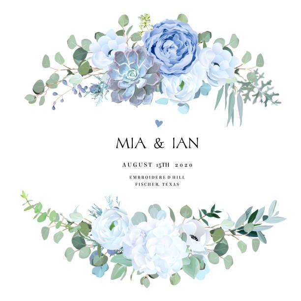 bildbanksillustrationer, clip art samt tecknat material och ikoner med dammig blå ros, echeveria suckulent, vit hydrangea, ranunculus, anemone - white roses