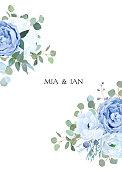 Dusty blue rose, white hydrangea, ranunculus, anemone, eucalyptus
