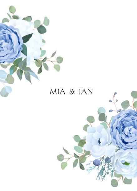 stockillustraties, clipart, cartoons en iconen met stoffige blauwe roos, witte hortensia, boterbloem, anemone, eucalyptus - hortensia