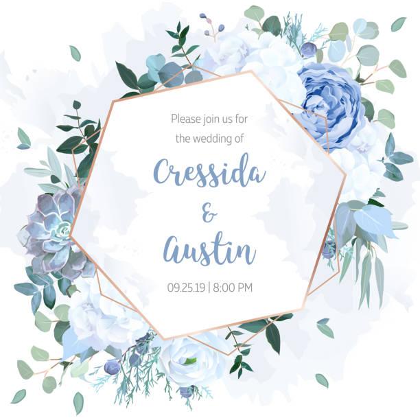 stockillustraties, clipart, cartoons en iconen met stoffige blauwe roos, witte hortensia, ranunculus, eucalyptus, jeneverbes - hortensia