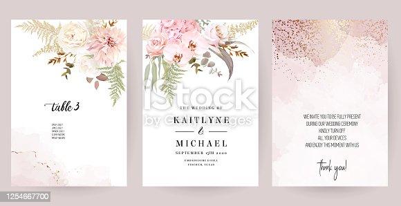 Dusty pink and ivory beige rose, pale hydrangea, fern, dahlia, ranunculus, fall leaf