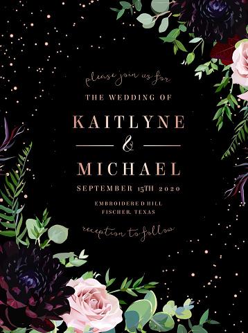 Dusty pink antique rose, dark burgundy dahlia flowers vector design wedding black frame