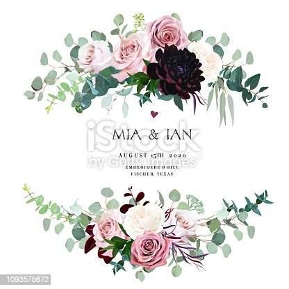 Dusty pink, creamy and mauve antique rose, pale flowers vector design wedding bouquets. Eucalyptus, dark burgundy dahlia, greenery. Floral pastel style border.All elements are isolated and editable