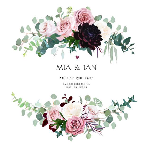 塵土飛揚的粉紅色, 奶油和淡紫色的古色古香的玫瑰, 蒼白的花朵 - 淺粉色 幅插畫檔、美工圖案、卡通及圖標