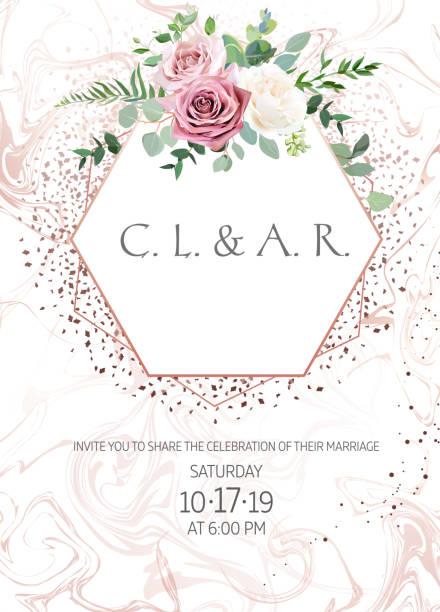 塵土飛揚的粉紅色, 乳白色的古色古香的玫瑰, 蒼白的花向量設計婚禮框架 - 淺粉色 幅插畫檔、美工圖案、卡通及圖標