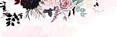 istock Dusty pink, pastel, black flowers vector design watercolor banner frame 1288334630