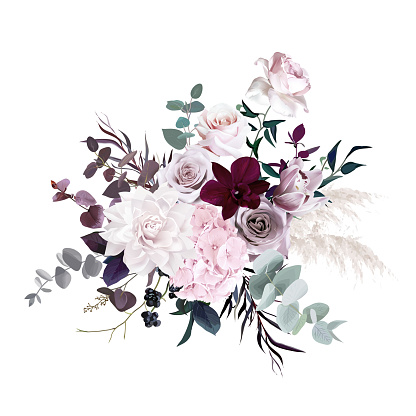 Dusty pink, pastel, mauve flowers glamour vector design wedding bouquet. Hydrangea, rose, dahlia, orchid, black berry, emerald greenery. Floral dark luxury style.All elements are isolated and editable