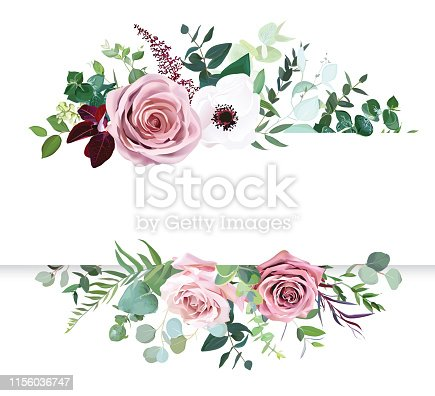 istock Dusty pink rose, pale flowers, white anemone horizontal botanical vector design banner 1156036747