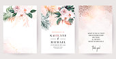 Dusty pink rose, white orchid, paradise plants, emerald green monstera and dried palm leaves cards. Stylish exotic frames. Sunset light. Wedding watercolor design. Elements are isolated and editable