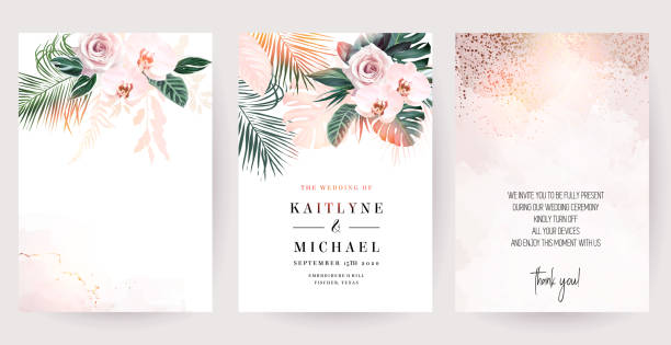 Dusty pink rose, white orchid, paradise plants, emerald green monstera and dried palm Dusty pink rose, white orchid, paradise plants, emerald green monstera and dried palm leaves cards. Stylish exotic frames. Sunset light. Wedding watercolor design. Elements are isolated and editable weddings background stock illustrations