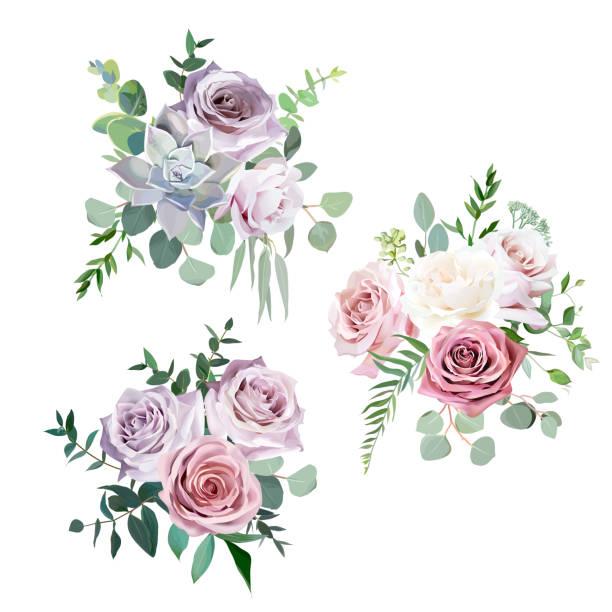 塵土飛揚的粉紅色, 乳白色和淡紫色的古董玫瑰向量設計婚禮花束 - 淺粉色 幅插畫檔、美工圖案、卡通及圖標