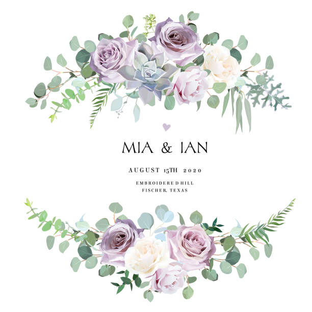 먼지가 보라색 라벤더, 크림 및 연보라 골동품 장미, 보라색 옅은 꽃 - 보라색 stock illustrations