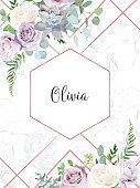 Dusty violet lavender,creamy and mauve antique rose, purple pale flowers,succulent  vector design wedding frame with blue marble. Eucalyptus, greenery. Floral watercolor border.Isolated and editable