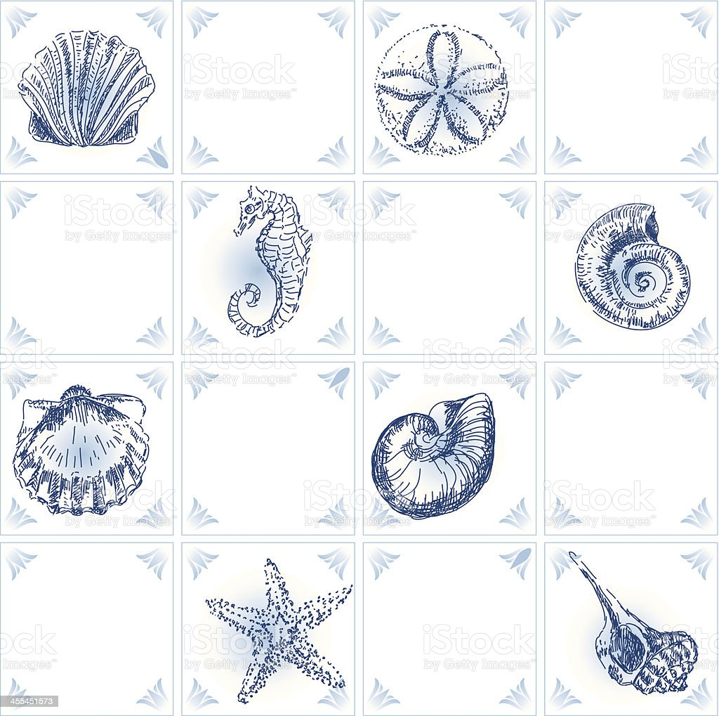 Dutch blue tiles with shell royalty-free stock vector art