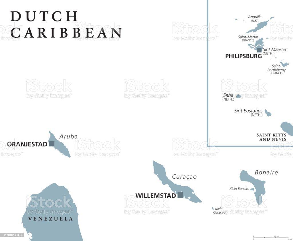 Dutch Caribbean political map vector art illustration