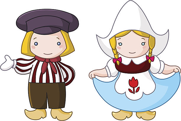 dutch couple - dutch traditional clothing stock illustrations, clip art, cartoons, & icons
