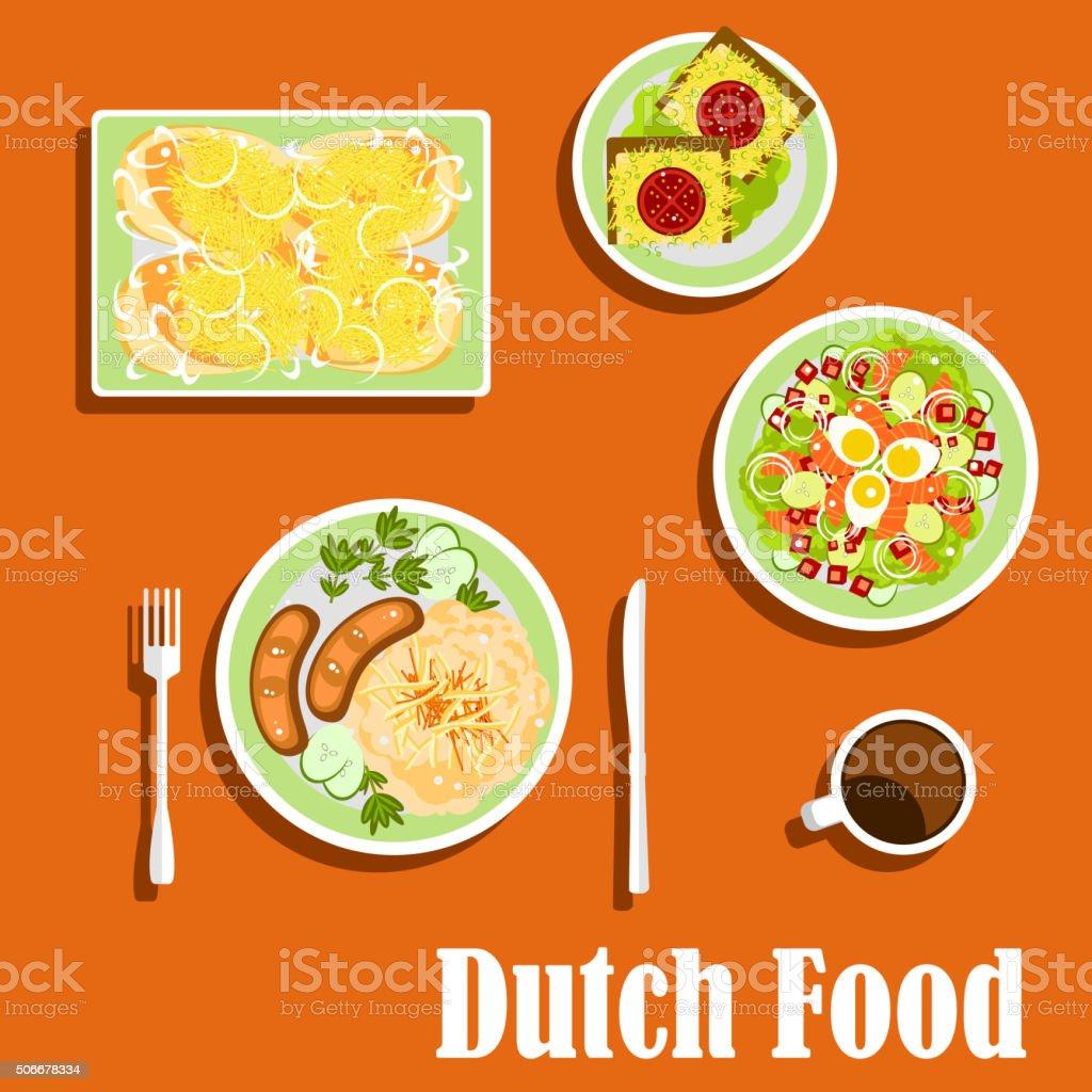 Schön Niederländische Küche Traditionelle Gerichte Und Snacks Lizenzfreies Vektor  Illustration