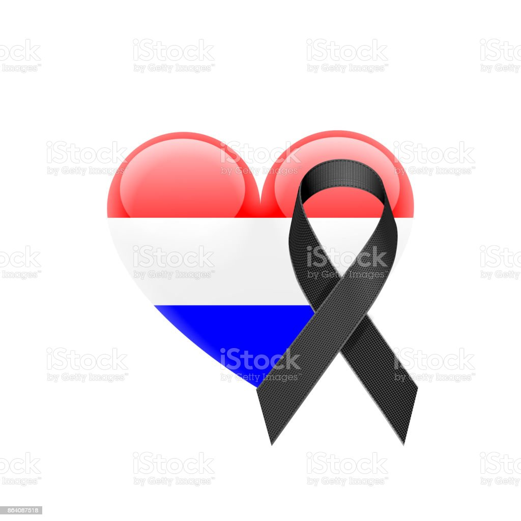 Dutch Flag Heart Icon with Black Ribbon royalty-free dutch flag heart icon with black ribbon stock vector art & more images of amsterdam