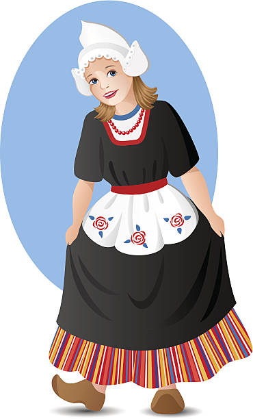 dutch girl in national costume - dutch traditional clothing stock illustrations, clip art, cartoons, & icons