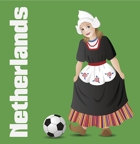 dutch girl in national costume with soccer ball - dutch traditional clothing stock illustrations, clip art, cartoons, & icons